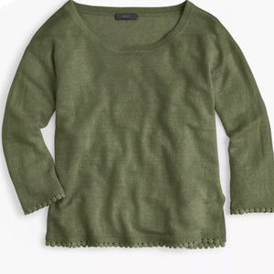 J Crew Linen Pom Pom Trim Sweater Safari Green